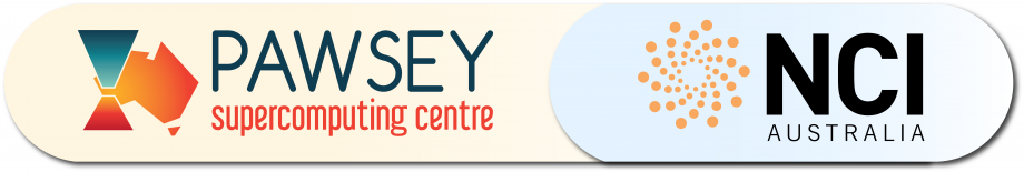 Logos for the Pawsey Supercomputing Centre and NCI Australia