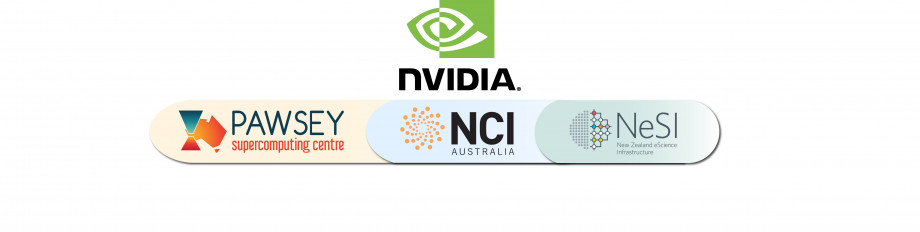 Logos for the Pawsey Supercomputing Centre, NCI Australia, NVIDIA, and New Zealand eResearch Infrastructure