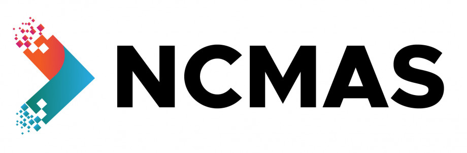 A red and blue arrow fading into small pixels on the left edges and pointing to the right towards the letters NCMAS.