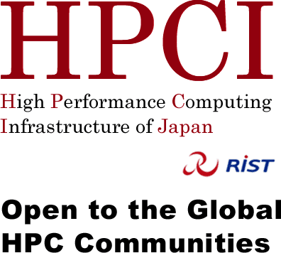 The words HPCI High Performance Computing Infrastructure of Japan over the phrase Open to the Global HPC Communities, with the RIST logo in the centre.