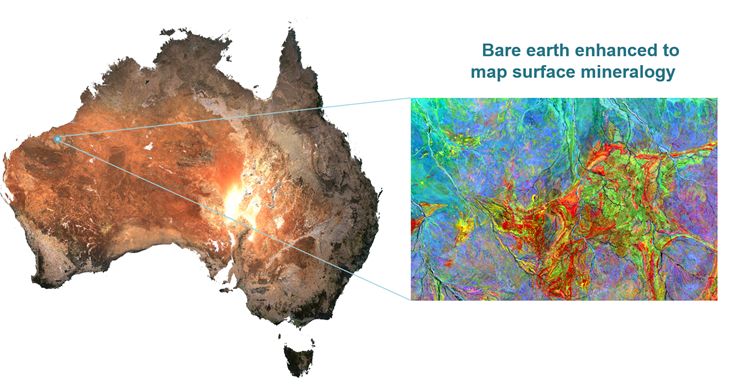 The bare earth dataset in 'true' colour bands red, green and blue. Right: Processed bare earth datasets highlighting the distribution of clay (red), iron oxides (green) and silica (blue).