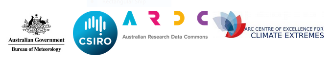 Logos of the Bureau of Meteorology, CSIRO, Australian Research Data Commons and Centre of Excellence for Climate Extremes.