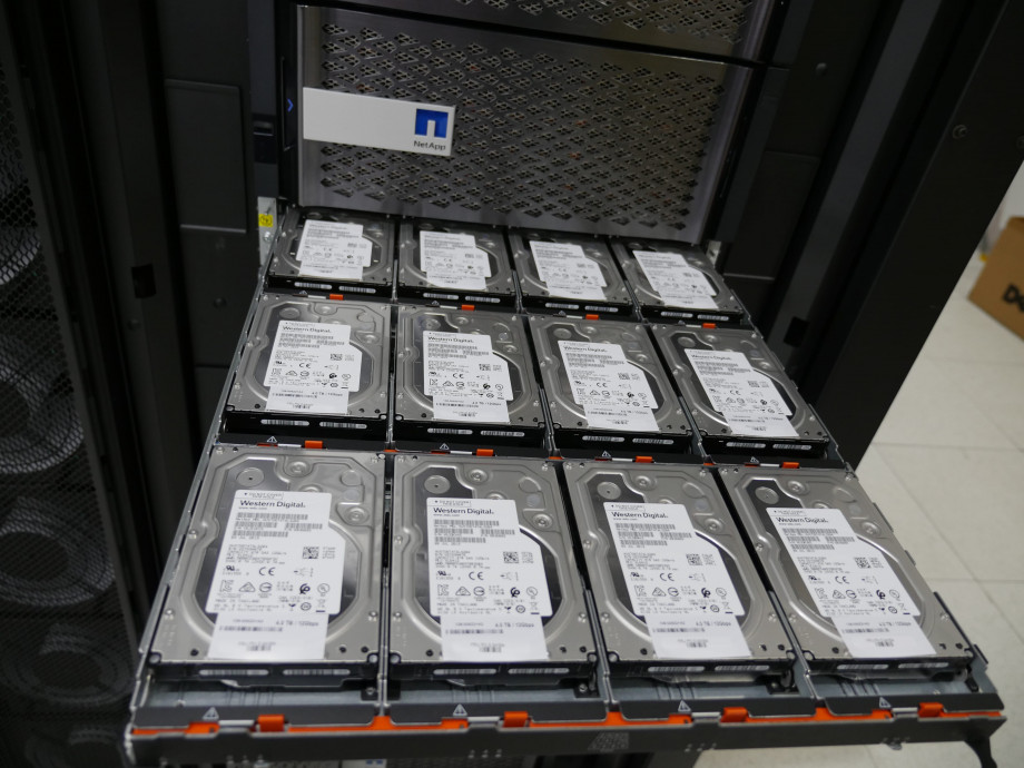 A tray with 12 hard drives installed in a flat configuration.