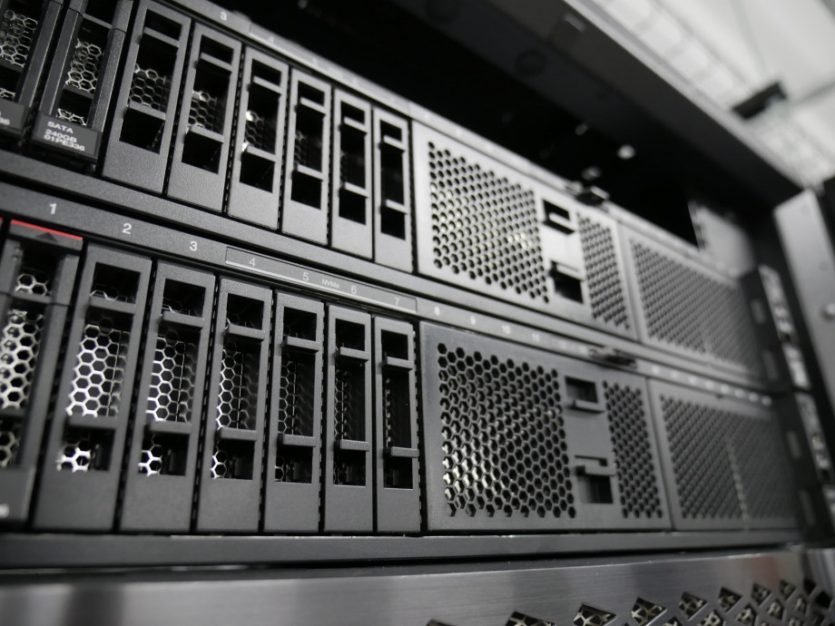 The front of a black rectangular computer server.