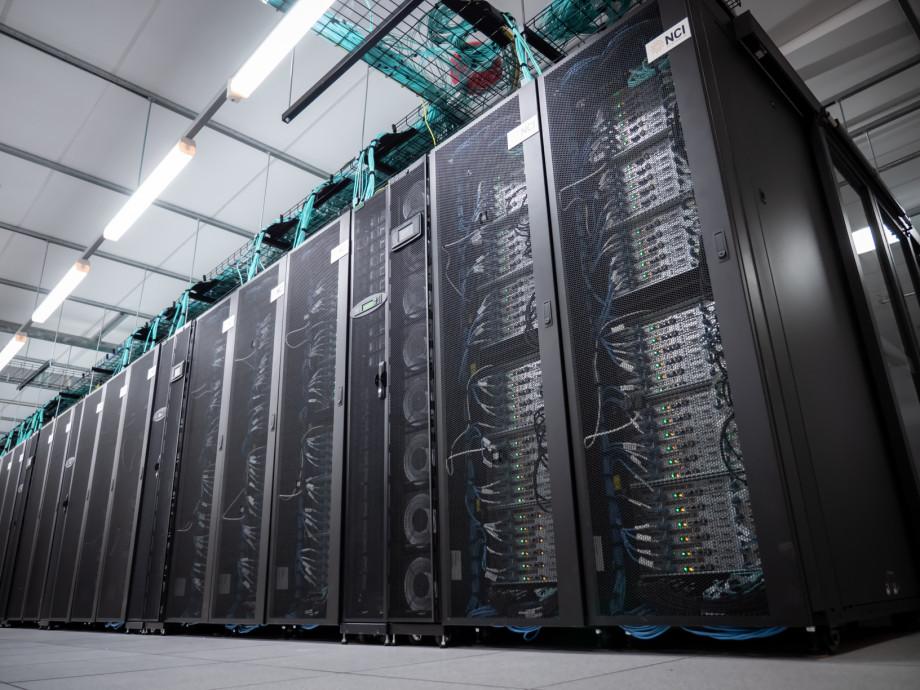 Racks of Gadi supercomputer.