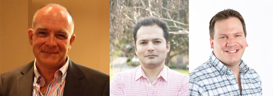 A collage of three portrait photos of men smiling at the camera. From left to right there is Julio Soria, Shahram Karami and Callum Atkinson.