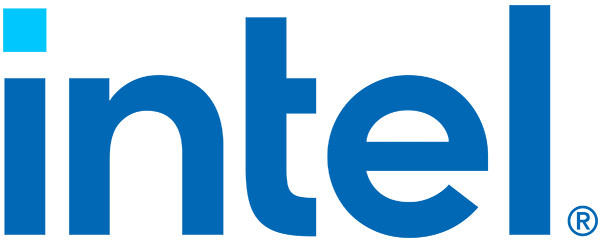 Blue lower case letters spell out the word 'intel', the dot on the i is a lighter shade of blue.