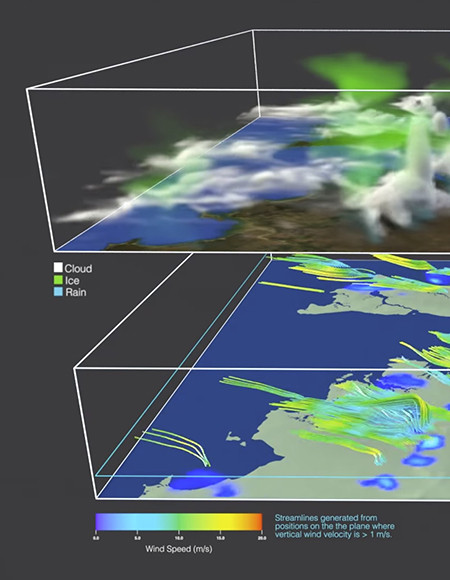 3D visualisation of cloud, ice and rain in atmosphere