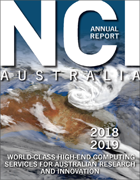 NCI Australia 2018-19 Annual Report cover with clouds over Australia as background image.