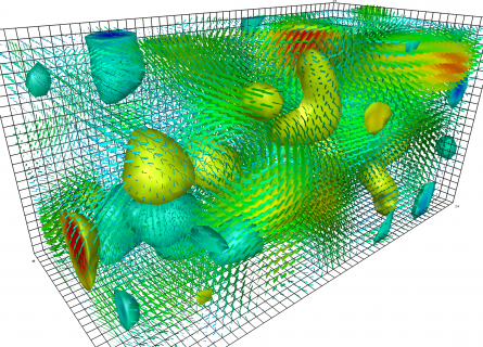 A three dimensional grid showing green, blue and red gradiated blobs representing fundamental particles.