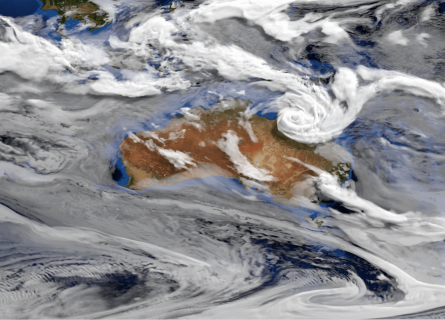 A graphical representation of clouds circling over Australia, taken from a still image of a scientific visualisation.