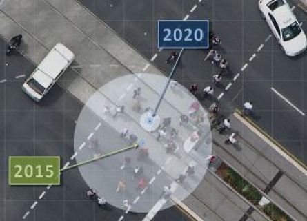A large circle overlaid on a road shows the relatively low precision on 2015 GPS while a much smaller circle shows the precision of 2020 GPS.