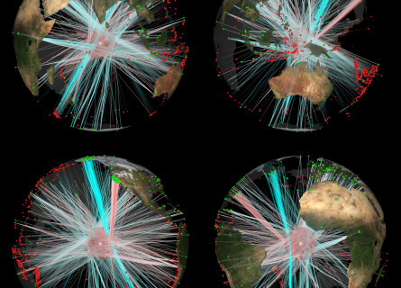 Four views of the Earth showing earthquake paths into and through the inner core.