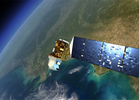 A Landsat satellite hovers the world.
