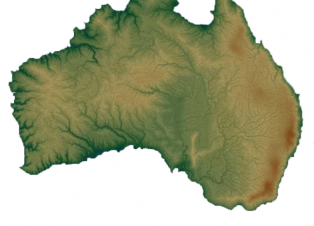 A model of the Australian continent  showing topography outlines.