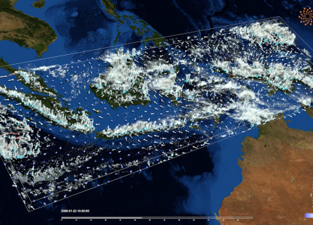 A still from a visualisation of cloud, wind and rainfall data for the Maritime Continent region of South-East Asia.