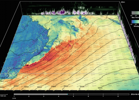 A still from a visualisation showing high wind speeds along the Australian East Coast.