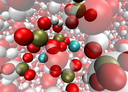 A theoretical model of a specific Calcium Phosphate cluster in water.