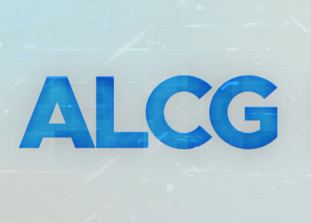 ALCG letters in blue on transparent computer background.