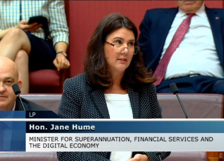 Senator Hume discussing NCI and Gadi during Question Time.