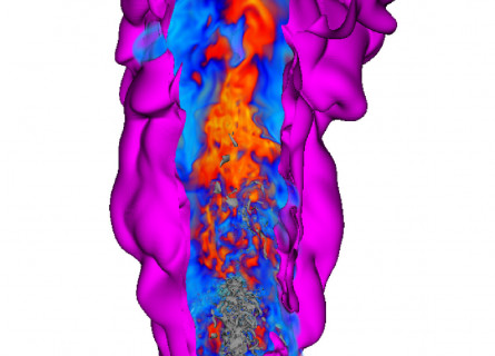 Three dimensional rendering of a flame from Direct Numerical Simulations, showing layers of heat and chemical compounds extending out from the point of ignition.