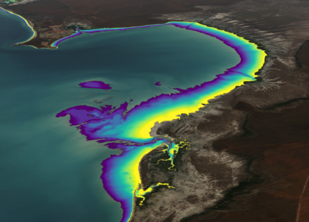 Tidal flats of Roebuck Bay on the coast of the Kimberley region of Western Australia, visualised using Geoscience Australia's intertidal elevation data.