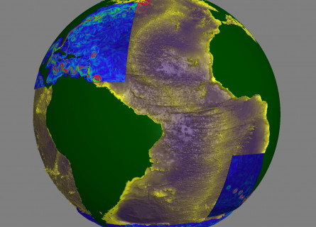 A still from NCI's virtual reality ocean visualisation, showing ocean currents in the Atlantic Ocean.
