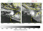 Two panels showing a cyclone over the north-west coast of Australia modelled in high-resolution on the left by the ACCESS model and in lower resolution on the right by MTSAT.