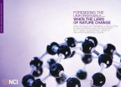 A model of a big spherical molecule made up of dozens of black balls.