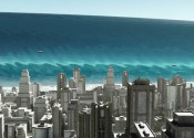 Graphical representation of a huge blue tsunami wave nearing a city of tall grey buildings.