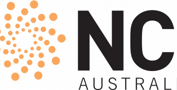 NCI Australia logo with orange swirl on the left side of the words in bold black capital letters.