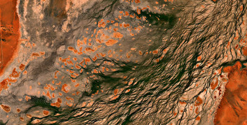 Satellite image of earth showing rocks